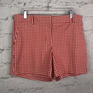 Ann Taylor red gingham shorts 12 NWT